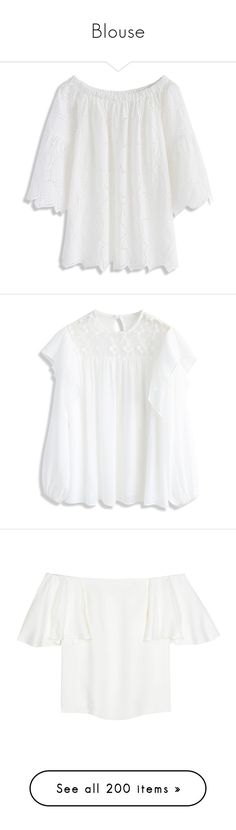 """""""Blouse"""" by luciaborrayo on Polyvore featuring tops, white, cut loose tops, eyelet off the shoulder top, white off the shoulder top, white eyelet top, leaf print top, transparent top, frilly tops y frill top"""
