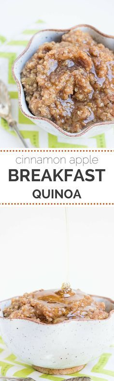 Cinnamon Apple Breakfast Quinoa - healthy & gluten-free This SEASONAL breakfast will keep you feeling full and satisfied all morning. An AMAZING & delicious quinoa breakfast recipe using cinnamon and apples (#glutenfree & #vegan)
