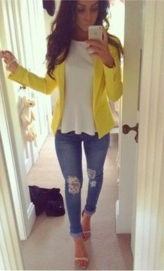 Yellow blazer, ripped jeans and white peplum top. Nude heels, perfect
