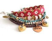 Bohemian hippie gypsy bracelet - multiple rows in pink and turquoise with friendship bracelet - handstamped tag and golden hearts