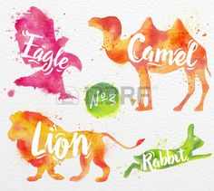Silhouettes of animal camel eagle lion rabbit drawing color paint on background of watercolor paper Stock Vector