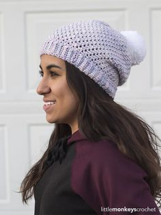 A gorgeous hand-dyed yarn gives this slouch its pearlescent look.