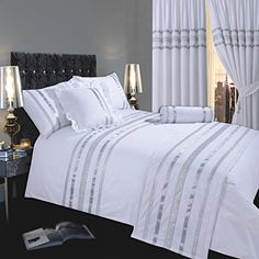 Glamour White With Silver Trim, Double Bed Duvet / Quilt Cover Set, Luxurious 200 Thread Count 100% Egyptian Cotton With Ribbon Detailing Ambiance http://www.amazon.co.uk/dp/B00U43DBY0/ref=cm_sw_r_pi_dp_NqfVwb170DZ20