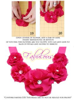 Fabric Necklace: Circles, Hot Glue, Ribbon and Bling Fabric Flower Necklace, Fabric Jewelry, Diy Jewelry, Ribbon Necklace, Jewellery, Jewelry Ideas, Jewelry Making, How To Make Paper Flowers, Diy Flowers