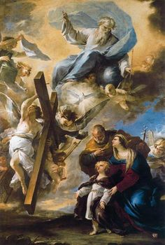 The Holy Family has a vision of the symbols of the Passion by Luca Giordano (1634-1705, Italy) | Reproductions Luca Giordano | WahooArt.com