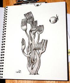 Jeff Jagunich/sketch inspiration...creative utensils Just took all of Drew's silverware to school