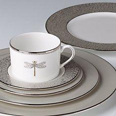 kate spade new york June Lane Platinum Dinnerware Place Setting + FREE Soup Bowl by Lenox & Christmas dinner ware from Dillards. Reba Cream Scroll. | christmas ...