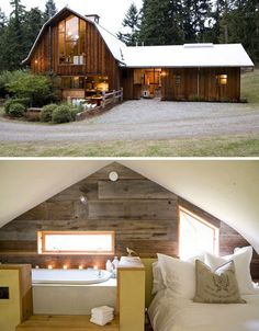 Massive windows and a white drywall ceiling have helped turn this barn into a covetable abode without compromising the sense of history that weathered, beaten-up barn wood brings. SHED Architects preserved the original structure but managed to make it feel like a relaxing retreat, fitting in a workroom, kitchen, lofted living area, guest apartment and multiple bedrooms.