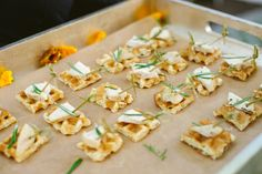 A little Southern flair...Chicken & Waffle Canapes with maple rosemary drizzle. Ravishing Radish Catering. Manchik Photography.