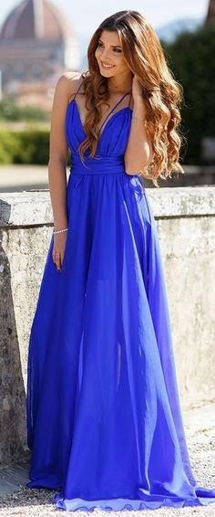 #summer #casualchic #outfits | Cobalt Blue Floor Length Dress
