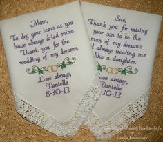 Gift for Mom Embroidered Wedding Handkerchief Mother of the Bride Wedding Gifts Gift for Mom Handkerchief for Mom Mother Canyon Embroidery