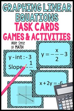 Check out these graphing linear task card games and activities. These fun graphing linear equations activities are perfect to review slope-intercept form, standard form, slope, and graphing lines. These are perfect for Algebra, 8th grade math, and middle school math. Click the image to check out these fun activities that are better than any math worksheet. #makesenseofmath 8th Grade Math, Eighth Grade, Fun Math Activities, Math Resources, Math Lesson Plans, Math Lessons, Algebra Games, Solving Equations, Math Classroom