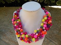 Kate Spade Inspired Spring Citrus Pearl Scramble Statement Bib Necklace by BlingBeadedBaubles, $84.00 USD