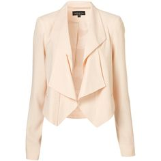 Tall Folded Lapel Jacket ($110) ❤ liked on Polyvore featuring outerwear, jackets, blazers, tops, tall jacket, tailored blazer, cropped jacket, pink jacket and cropped blazer jacket