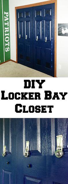 DIY Locker Bay Closet DIY Locker Bay Closet made in a boy's football themed bedroom! Boys Football Bedroom, Football Rooms, Bedroom Boys, Bedroom Ideas, Trendy Bedroom, Basketball Bedroom, Soccer Room, Diy Bedroom, Bedrooms