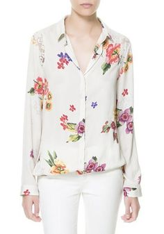 White Floral Lace Turndown Collar Loose Chiffon Blouse