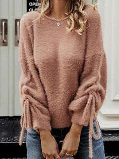 Women Faux Fur Pear Fluffy Sleeves Jumper Sweater Contrasting Puff Oversize Top