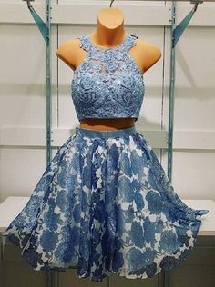 Two Pieces Prom Dresses,Fashion Homecoming Dresses,Lace Prom Dresses,Flower Homecoming Dresses,Short Prom Dresses,Beaded Prom Dresses,Halter Prom Dresses,Sleeveless Homecoming Dresses, 2017 Homecoming Dresses