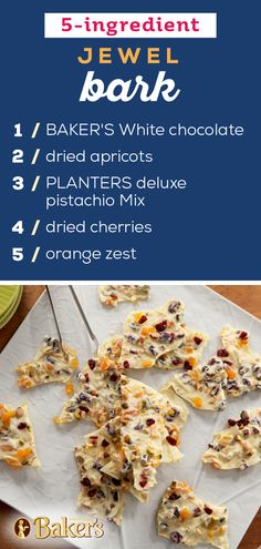 It only takes 15 minutes to get this fruity, nut-studded white chocolate bark prepped for the refrigerator. Candy Recipes, Holiday Recipes, Cookie Recipes, Dessert Recipes, Holiday Baking, Christmas Desserts, Christmas Candy, Christmas Treats, Xmas