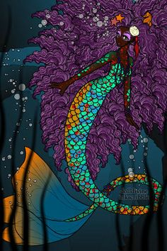 the colors in her fins. :: Check out our Black Mermaid section HERE! Mythological Creatures, Fantasy Creatures, Mythical Creatures, Mermaid Images, Mermaid Pictures, Unicorns And Mermaids, Mermaids And Mermen, Mermaid Dolls, Mermaid Art