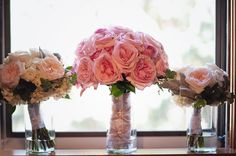 Stunning soft pink bouquet (Twigs & Posies) is so romantic and classic.  Love the sprigs of faux pearls to add texture. (Elizabeth Anne Photography)
