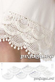 Nyz embroidery of Eastern Podillia, Ukraine - photos AND technique. Crochet Patterns Lace Crochet Lace Edging for Handtowel ~~ sandragcoatti - Salvabrani Learn to Crochet – Crochet Wave Fan Edging. Crochet Border Patterns, Crochet Lace Edging, Crochet Motifs, Crochet Diagram, Crochet Trim, Crochet Designs, Knitting Patterns, Crochet Skirts, Crochet Clothes