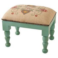 Rest your feet on this colorful footstool for a relaxing reading nook accent, or add it to the kitchen for a quick boost while reaching for pantry ingredient. Upholstered Footstool, Bohemian Furniture, Burlap Table Runners, Beautiful Interior Design, Sofa Covers, Reading Nook, Upholstery, Furniture Design, Home Decor