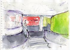 Acquerello di Luca Moretto. Studio del nuovo ingresso al collegio universitario Einaudi, sezione Po, di Torino. www.lucamoretto.it