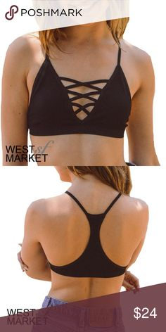 -NEW ARRIVAL- The Vessa Bralette Black triangle bralette with criss-cross for lace-up effect. Racerback. 92% Cotton, 8% Spandex. XS/S: 32B, 34A, 34B. M/L: 34B, 34C, 36A, 36B. WestMarket SF Intimates & Sleepwear Bras