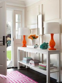 White Entryway with Double Orange Lamps