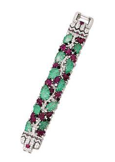 Platinum, Colored Stone, Diamond and Enamel 'Tutti Frutti' Bracelet, Cartier, New York, circa 1928