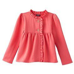 Chaps Ruffle Fleece Jacket - Girls 4-6x