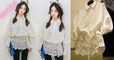 jar 2014 nové čipkované blúzka ženy šifón košele Európska verzia chladnom minimalistický dizajn divoký nepravidelný lem šaty-in Blúzky a košele z oblečenia a príslušenstva na Aliexpress.com