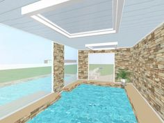 Click LIKE if you'd enjoy an indoor-outdoor pool at YOUR house! Click to 'share' if you think your friends would too!   Visualize your outdoor relaxation space in 3D: http://planner.roomsketcher.com/?ctxt=rs_com  3D floor plan for indoor-outdoor pool at a family home with view to outside by liamwebster