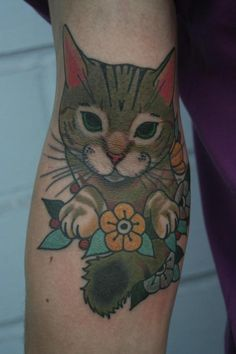 full color cat tattoo example