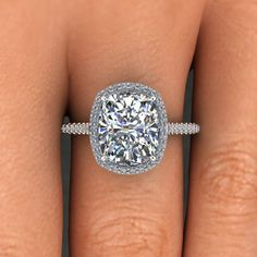 3.00 Ct. Natural Cushion Cut Halo Pave Eternity Diamond Engagement Ring - GIA in Jewelry & Watches, Engagement & Wedding, Engagement Rings | eBay