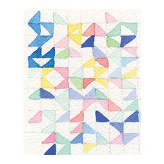 watercolor pattern triangles by Wellmade Design Co. Watercolor Sketch, Watercolor Pattern, Collage Illustration, Sketch Inspiration, Pattern Design, Appreciation, Print Patterns, Quilts, Blanket
