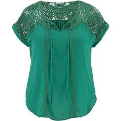 maurices Plus Size - Crochet Shoulder Chiffon Peaseant Top
