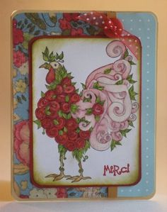 Thimbles, Bobbins, Paper and Ink: Floral Rooster