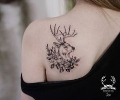 Beautiful Deer Tattoo by goyotattooart