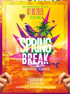 Spring Break Party | Flyer Template on Behance A Clean template, Very easy to…