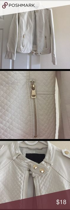 Faux leather jacket Off white faux leather jacket! It's very stylish. I only used it 2 times. It is made from a soft material. The zippers are gold in color. Jackets & Coats