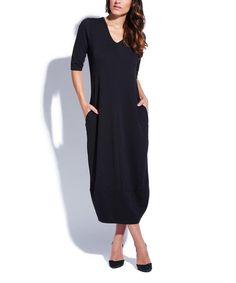 Look at this Eva Tralala Black V-Neck Midi Dress on #zulily today!
