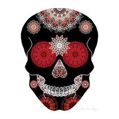 Red halloween art sugar skull poster ornate by FeatherAndIndigo