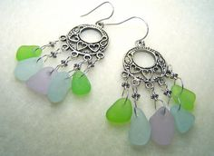 Sea Glass Jewelry   Beach Glass Earrings  by BikerBlingCa on Etsy, $25.00