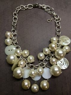 Vintage Button & Pearl Necklace by BornAgainButtons on Etsy, $24.00