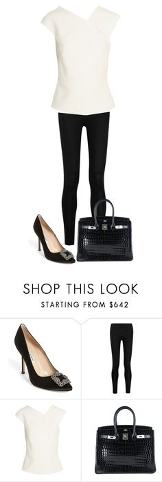 """:)"" by endonggg on Polyvore featuring Manolo Blahnik, Donna Karan, Roland Mouret, Hermès, women's clothing, women's fashion, women, female, woman and misses"