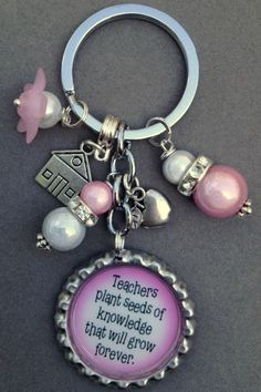 PINK TEACHER bottle cap purse charm bag bling by KeyChainBling, $16.00