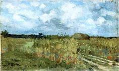 Flowering field  - Ion Andreescu A4 Poster, Poster Prints, Art Database, Oil Painting Reproductions, Ap Art, Vintage Artwork, Claude Monet, Landscape Art, Impressionism