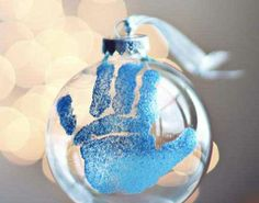 Festive DIY Christmas Ornaments - Babys Christmas Handprint Bauble - Click Pic for 25 Holiday Craft Ideas
